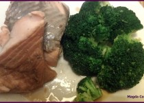 Steamed Salmon in Teriyaki Marinade with Broccoli