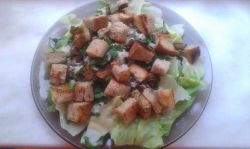 Hot Mushrooms on Lettuce Salad with Mozzarella and Croutons