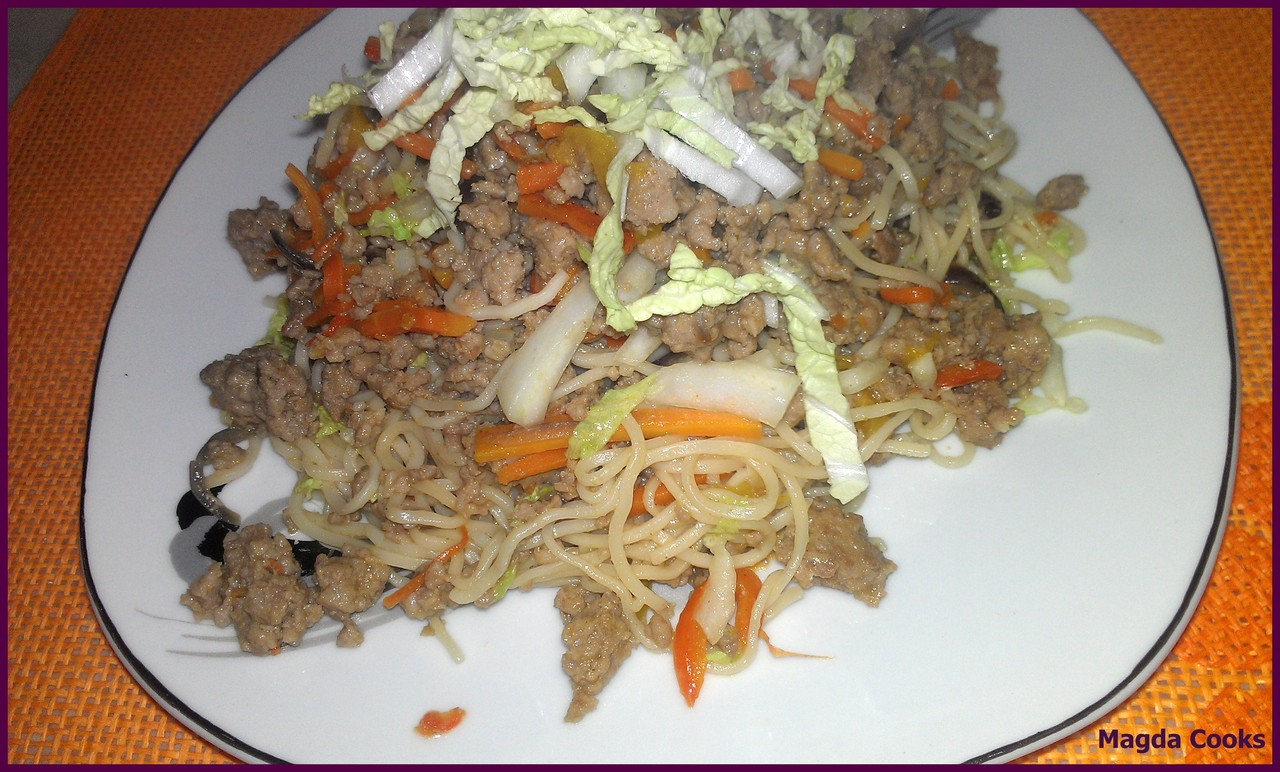 Asian Egg  Noodles Fried with Ground Pork and Veggies